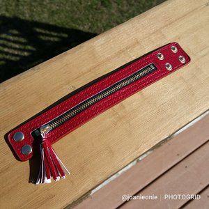 Punk Chic Adjustable Zip Tassel Bracelet RED NWT